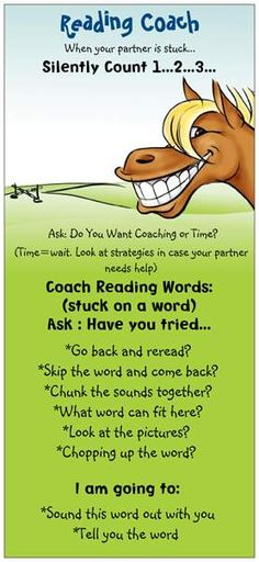 "rack card-reading reminder bookmark for reading ""coaches"" Daily 5 Reading, Partner Reading, Reading Lessons, Reading Resources, Reading Strategies, Reading Activities, Reading Skills, Guided Reading, Teaching Reading"