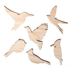 """Wood-be wonderful Hand Made Modern Pine decorative birds. This set of 6 songbirds is designed to mix & match with the entire Hand Made Modern line, ready-to finish pine bases are the perfect foundation for any craft project. Just add Hand Made modern fabric, paints, and embellishment - or all 3 - to take our quality pine wood bases from basic to beyond beautiful. Comes with a black nickel """"O-ring"""" for hanging after your project is complete."""