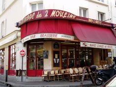 The cafe from 'Amelie', Montmartre, Paris I loved that film, I think it was the film that started the trend of garden gnomes traveling the world and sending postcards