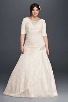 Extra Length Lace Plus Size Wedding Dress with Elbow Sleeves - Ivory, 24W