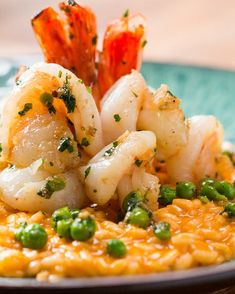 Wolfgang Puck's Tomato Risotto With Shrimp Recipe by Tasty – Sea Food Speciel Fish Dishes, Seafood Dishes, Pasta Dishes, Main Dishes, Shrimp Recipes, Fish Recipes, Recipies, Seafood Risotto, Gourmet