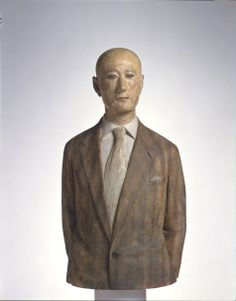 "by Katsura Funakoshi ""Man in a Jacket""  painted camphor wood and marble, Japan"