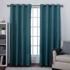 Exclusive Home Raw Silk Grommet Curtain Panel Pair Teal - EH7901-04 2-X84G