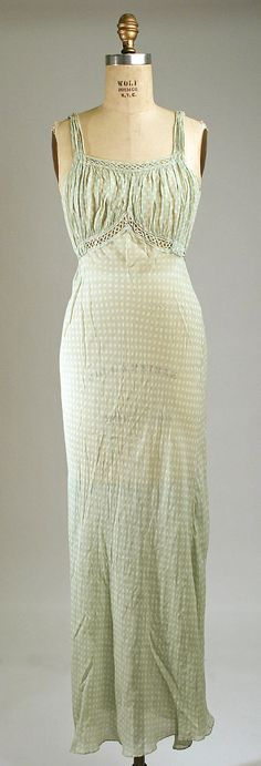 Nightgown, 1931-35, silk.  Metropolitan Museum of Art.  Intricate bodice detail.