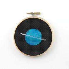Uranus Cross Stitch pattern, planet cross stitch, space cross stitch, science cross stitch, geeky cross stitch, uranus pdf pattern