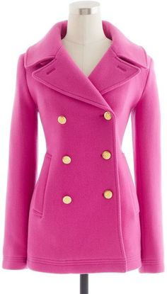 J.Crew Majesty Peacoat in Berry Pink