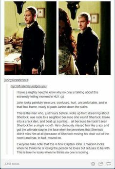 Spot on, except that Sherlock had never, for a second 'moved on'.