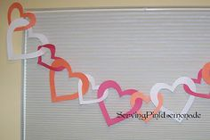 Linked Valentine Heart Garland: Directions and template on site
