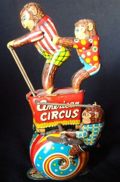 Old Vintage Tin Winding American Circus Monkey's Toy from Japan 1950