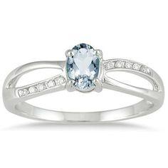Aquamarine and Diamond Split ing in 10K White Gold