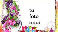 Feliz Cumpleaños Tarjeta Marco Para Foto Birthday Card With Name, Happy Birthday Cake Photo, Birthday Photo Frame, Happy Birthday Frame, Happy Birthday Wishes Cards, Happy Birthday Pictures, Birthday Frames, Birthday Cards, Artificial Orchids