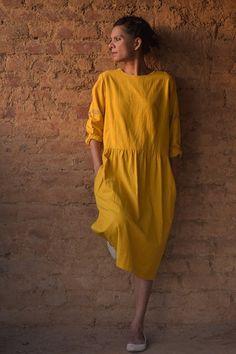 Agra Pure handloom cotton Khadi dress in Yellow by kinchebyPayal