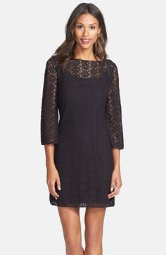 Lilly Pulitzer® 'Topanga' Lace Shift Dress poly black, island coral szXS 35L 168.00