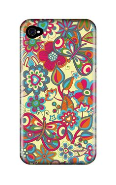 case #iphone #yellow #pattern #flowers #butterflies #gadget #kindle #likemycase