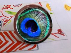 Peacock Feather Bird Nature Drawer Pull by goddessglass10359, $9.00