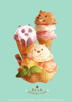 "BEAR DESSERT CAFE  We Bare Bears is one of my fav cartoons of all times. The stories are worth contemplating.  A6 prints and stickers will be available at POPCON booth AA034 ""Gitu Gitu Suru"" ~ 5-6 August 2017 Jakarta Convention Center"