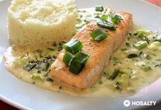 Lazac újhagymás-tejszínes mártással Chicken And Shrimp Recipes, Salmon Recipes, Fish Recipes, Healthy Food Options, Healthy Recipes, Healthy Cooking, Cooking Recipes, Food Porn, Slow Cooker Bbq