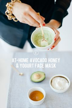 At-home, refreshing Avocado Honey Yogurt face mask