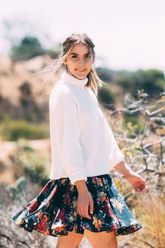 Floral skirt, cropped sweater