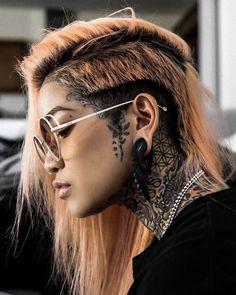 Face Tattoos, Body Art Tattoos, Tattoo Art, Tattoed Girls, Inked Girls, Punk Rock Fashion, Undercut Hairstyles, Stretched Ears, Popular Tattoos