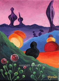 Items similar to Surreal abstract psychdelic art original 6 x 8 painting rainbow shapes colorful alien landscape sci fi fantasy shapes pink purple orange on Etsy Cute Paintings, Original Paintings, Alien Painting, 2d Art, Abstract Shapes, Sci Fi Fantasy, Psychedelic, Pink Purple, Rainbow