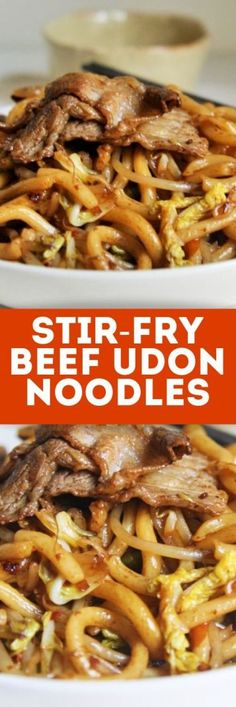 Stir-Fry Beef Udon Noodles {Japanese Yakiudon} - The Tasty Bite - Try making this popular Japanese restaurant classic – Stir-Fry Beef Udon Noodles – and I guarantee you'll want to add it to your regular rotation of nightly dinners! Beef Noodle Stir Fry, Beef And Noodles, Stir Fry Udon Noodles, Beef Udon Noodle Recipe, Easy Beef Stir Fry, Udon Noodle Soup, Thai Noodles, Asian Noodles, Noodle Bowls
