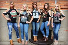These custom made, hand embellished tees are truly each one of a kind! Wear these to you next concert, a night out with the girls! Don't see you favorite band