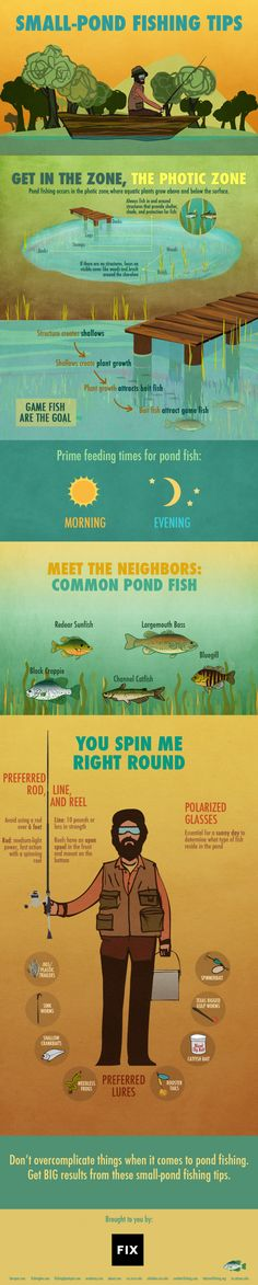 Always dreamed of fishing but never had a mentor to show you how it's done?Take a look at these small-pond fishing tips and tricks presented by Fix to get your feet wet and hopefully have something to show for your efforts at the end of the day.H/T to Aldo Baker.Via Fix.Eatin' fresh with infographics!