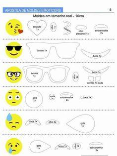 Cute emoji bookmarks with funny faces Ricci and Fantasy Party Emoji, Emoji Templates, Stencil Templates, Emoji Bookmarks, Emoji Craft, Felt Keychain, Face Template, Felt Crafts Patterns, Cute Emoji