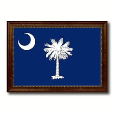 South Carolina State Flag Canvas Print with Custom Brown Picture Frame Home Decor Wall Art Decoration Gifts
