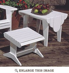 Adirondack Footstool and Side Table : Large-format Paper Woodworking Plan from WOOD Magazine Adirondack Furniture, Metal Furniture, Cheap Furniture, Furniture Plans, Furniture Making, Outdoor Furniture, White Furniture, Kids Furniture, Luxury Furniture