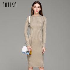 a4ef992703 FATIKA Women Knitted Dress Spring Autumn 2017 Long sexy Bodycon Dresses  Elastic Slim Twinkle Sweater Dress
