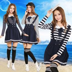 Japanese harajuku navy doll collar t-shirt braces skirt two-piece