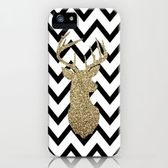 Glitter Deer Silhouette with Chevron iPhone & iPod Case by dani - $35.00