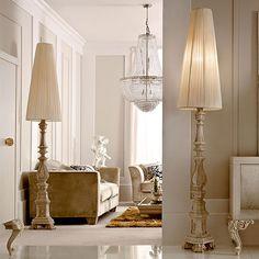 piantana legno wooden floor lamp Ø 45 H. Gold Floor Lamp, Wooden Floor Lamps, Wooden Flooring, Chandelier, Ceiling Lights, Home Decor, Style, Baroque, Spaces