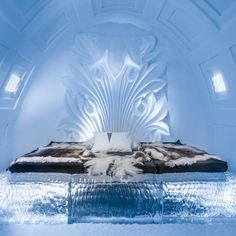 Fantastic Hand-Carved Interiors of Icehotel in Sweden Ice Hotel Sweden, Ice Art, Arctic Circle, Snow And Ice, A Whole New World, Oeuvre D'art, Oeuvres, Getting Cozy, Travel Inspiration