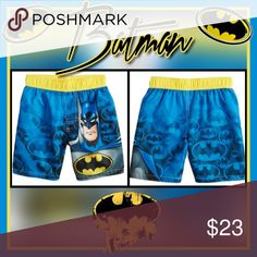 Toddler Boy DC Comics Batman Swim Trunks Your little super hero will be ready to save they day in these boys' swim trunks.  PRODUCT FEATURES:      Elastic waistband     Batman graphics and all over Batman symbol pattern     UPF 50+ sun protection  FABRIC & CARE:      Polyester     Machine wash DC Comics Swim Swim Trunks