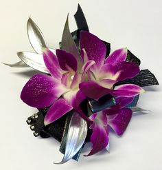 silver purple and black prom flowers, prom corsage, prom ideas, prom trends, orchids