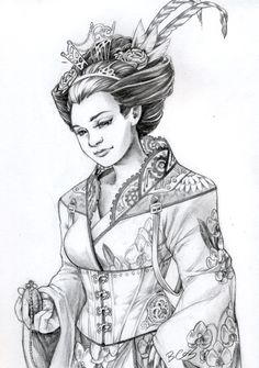 "the cogs in the collar and the strapping are wonderful in this illustration ""Steampunk Geisha by ~Mouzly on deviantART"""