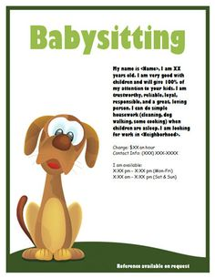 how to make a babysitter flyer