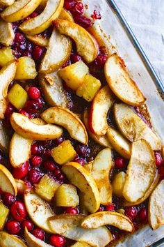 Easy Spiced Hot Fruit Bake is a delicious healthy holiday breakfast recipe! This gluten free hot fruit bake is great side for brunch or a dessert topping!