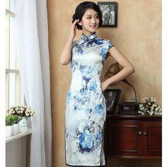Pretty Blue Flowers Print Silk Cheongsam Dress - Qipao - Cheongsam - Women
