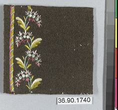 Sample Date: early 19th century Culture: French Medium: Silk on felt Dimensions: L. 2 5/8 x W. 2 5/8 inches 6.7 x 6.7 cm Classification: Textiles-Embroidered Credit Line: Gift of The United Piece Dye Works, 1936