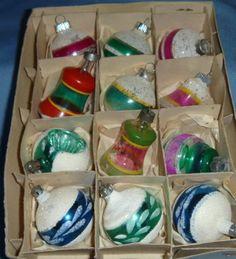 Vintage Unsilvered Mica Balls / Bells Christmas Ornaments Shiny Brite & Poland