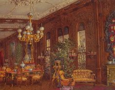 Tapestry Sitting room in the private apartments of the Princess in the Yussupov Palace on the Moika as it was painted in 1853.