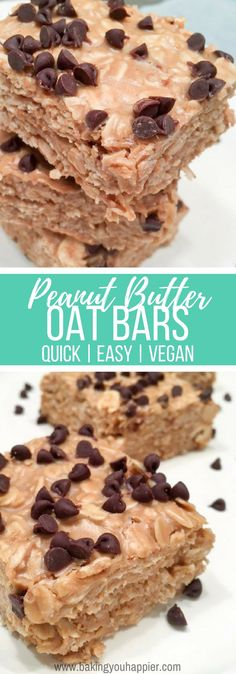 Yummy Vegan Peanut Butter Oat Bars, a texture and taste complimented by peanuts, oats, honey, and coconut oil - topped with chocolate chips! Vegan Dessert Recipes, Vegan Sweets, Delicious Desserts, Healthy Recipes, Free Recipes, Easy Recipes, Honey Recipes, Vegan Snacks, Ketogenic Recipes