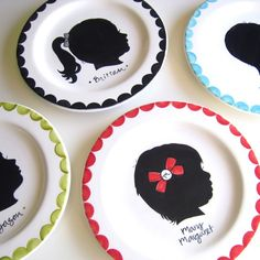 Custom hand painted silhouette plates by Aedriel Originals. Another Etsy love! Fun Crafts, Crafts For Kids, Arts And Crafts, Small Plates, Decorative Plates, Custom Plates, Love Silhouette, Silhouette Portrait, Origami
