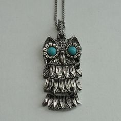 Dainty Articulated OWL NECKLACE / Pendant - by VintageVoola on Etsy, $9.50