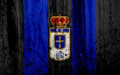 Download wallpapers 4k, FC Real Oviedo, grunge, Segunda Division, art, soccer, football club, Spain, Real Oviedo SAD, logo, LaLiga2, stone texture, Real Oviedo FC