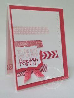 Tape It Yippee Skippee Stampin' Up! Scrapbook Expo, Scrapbook Cards, Scrapbooking, Cascading Card, Cool Cards, Easy Cards, Washi Tape Cards, Birthday Cards For Women, Paper Hearts